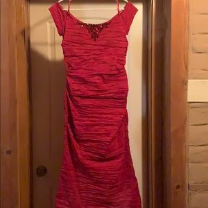 Alex Evenings Fit and Flare Red Gown.
